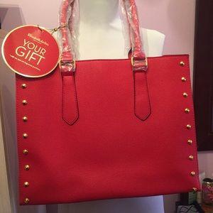 Elizabeth Arden red/gold studs tote bag